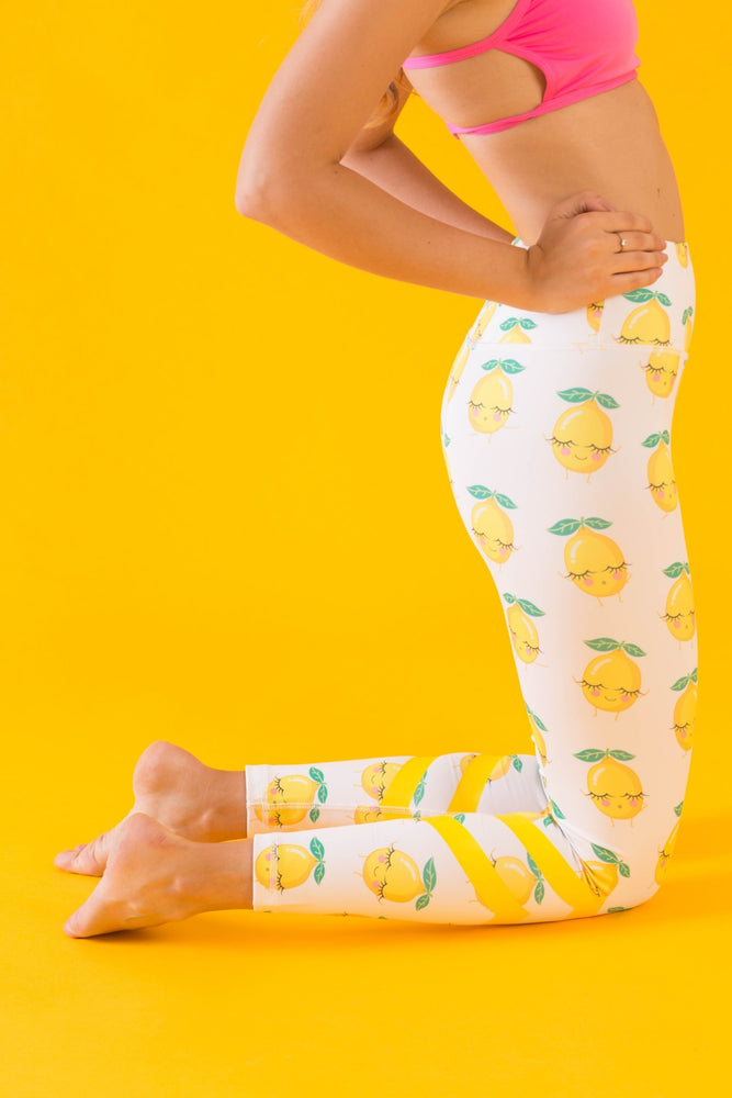 White High Waisted Yoga Pants with Lemons Pattern