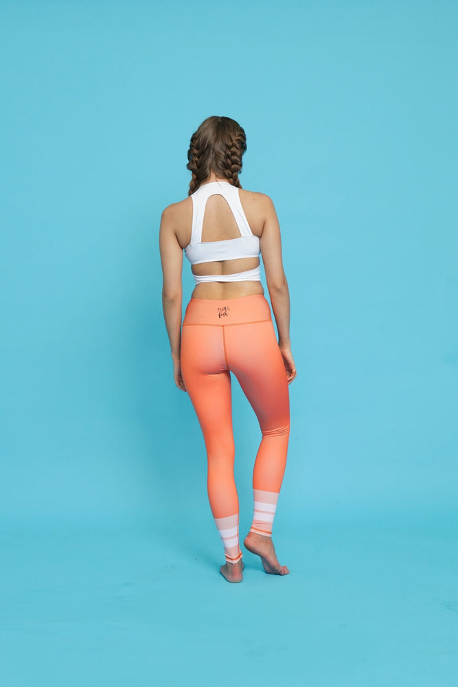 Orange White High Waisted Yoga Pants