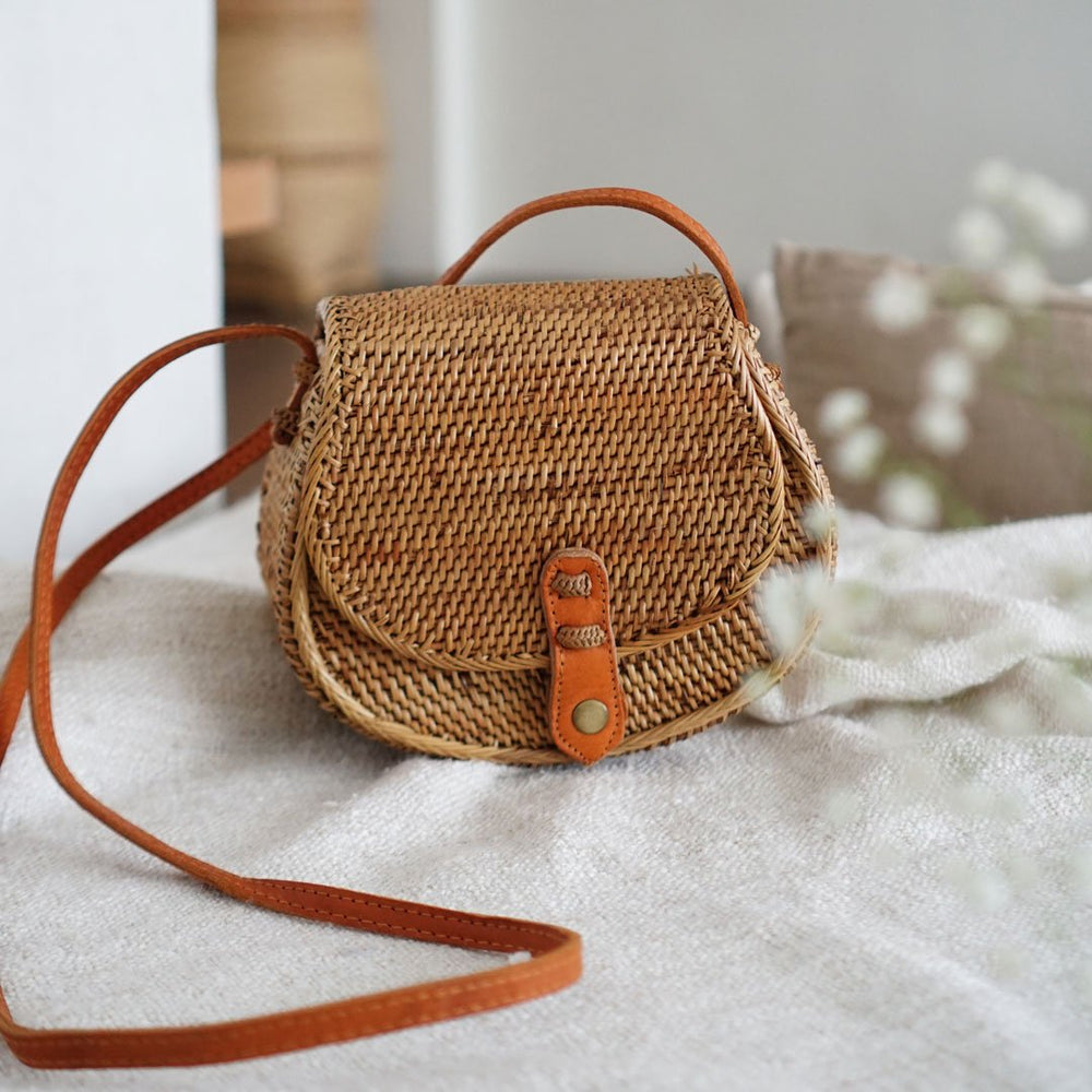 Brown Handwoven Bali Rattan Crossbody Satchel Bag