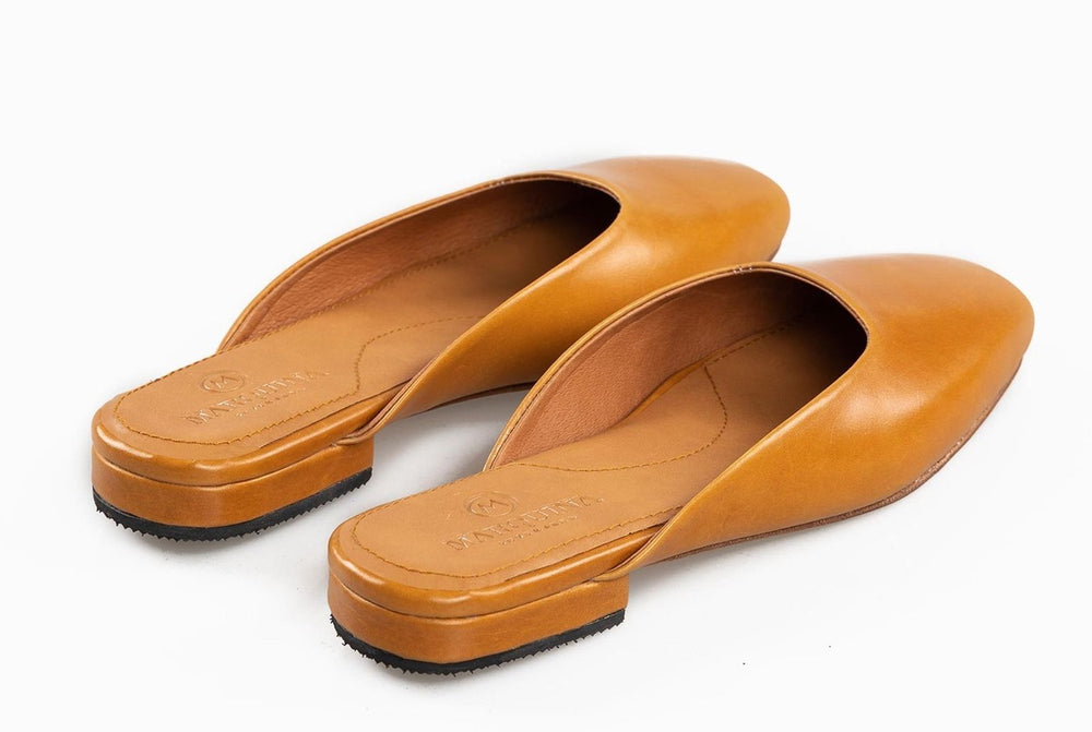 Flat Leather Shoes Tan