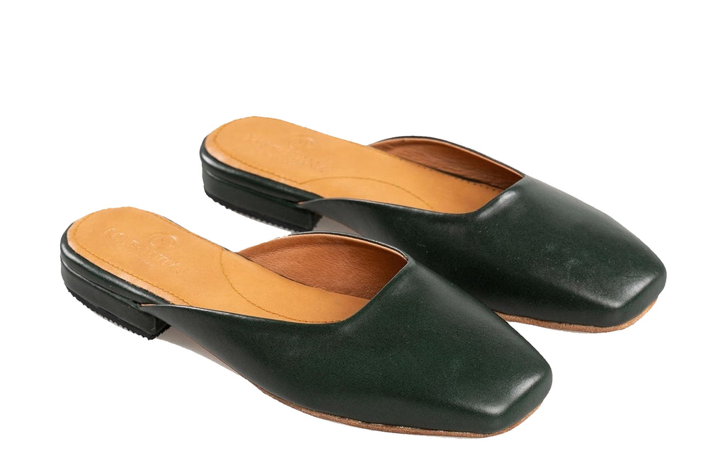 Flat Leather Shoes Emerald Green
