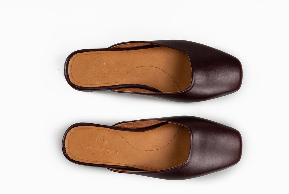 Flat Leather Shoes Burgundy