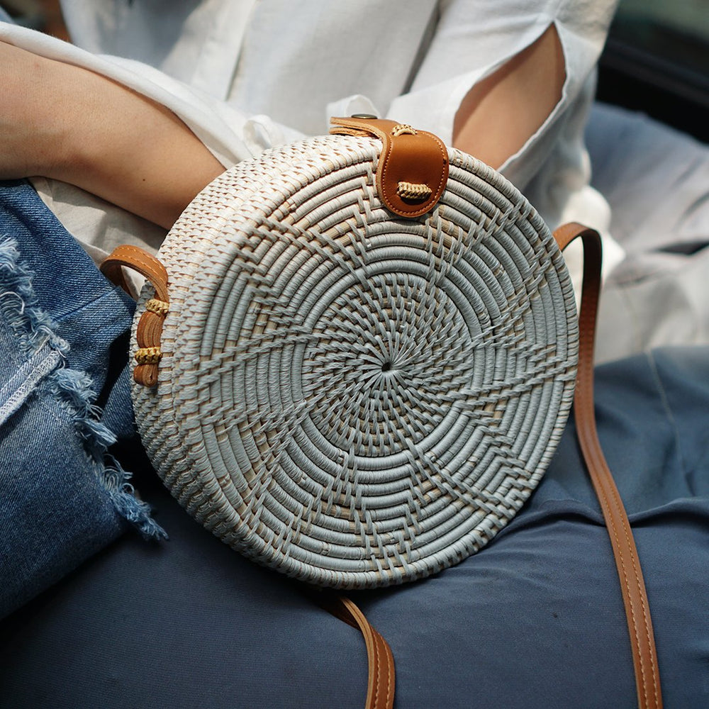 White Flower Bali Rattan Crossbody Bag