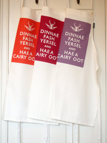 Dinnae Fash and Hae a Cairy Oot - Berry Collection Cotton Drill Aprons