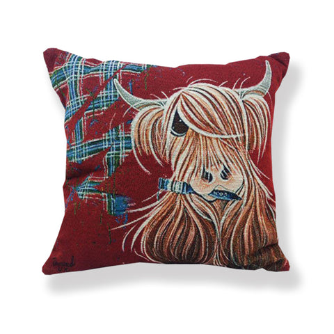 McMoo Highland Cow Jacquard Cushion (CUS01TP)