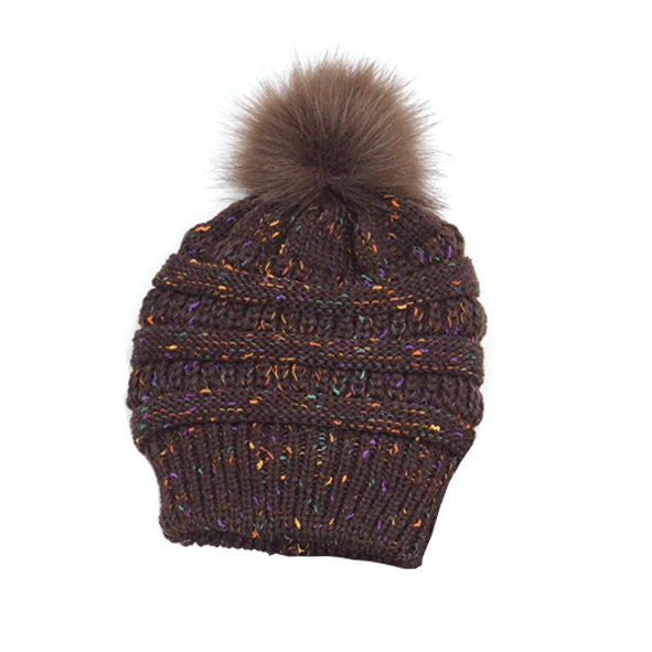 Brown Pom Pom Hat (POM13)