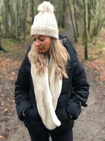 Cream Pom Pom Hat and Infinity Scarf Set