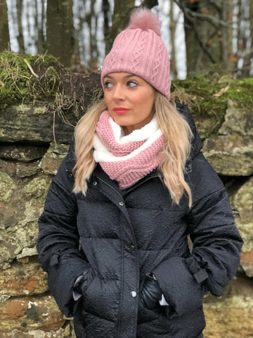 Soft Pink Pom Pom Hat and Infinity Scarf Set