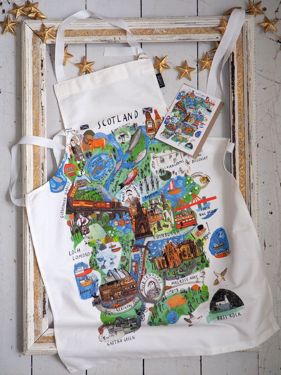 This offer includes an apron printed on quality cotton that washes and washes retaining its super print quality, it also includes a 'Scotland Mapped Out' greetings card.