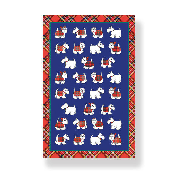 Tartan Terrier Cotton Tea Towel (T18TT)