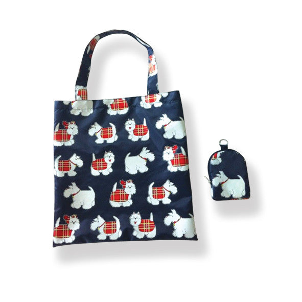 Tartan Terrier Folding Shopping Bag