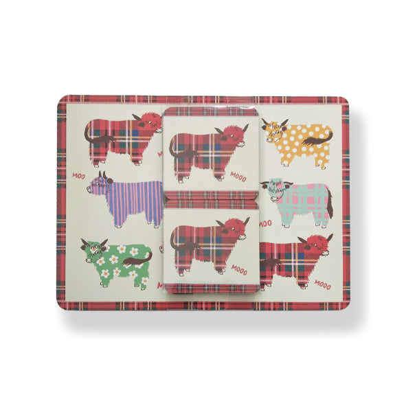 Highland Cow Placemat & Coaster set 4 (TMSETHC)
