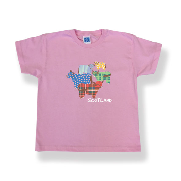T-Shirt Highland Cow Design Pink