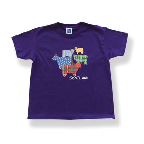 T-Shirt Highland Cow Design Purple
