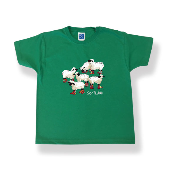 Childrens T-Shirt Sheep design Green (Puddle Jumpers)