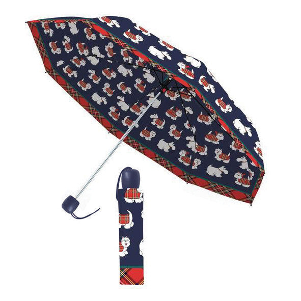 Tartan Terrier Folding Umbrella