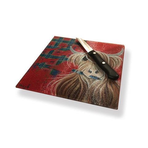 McMoo Tartan Paint Chopping board/ pot stand