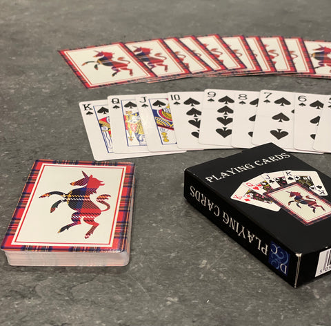 Playing cards with Tartan unicorn design