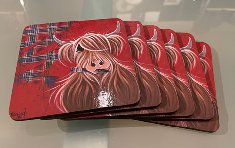 McMoo Tartan paint coaster set of 6 (CO11TP)