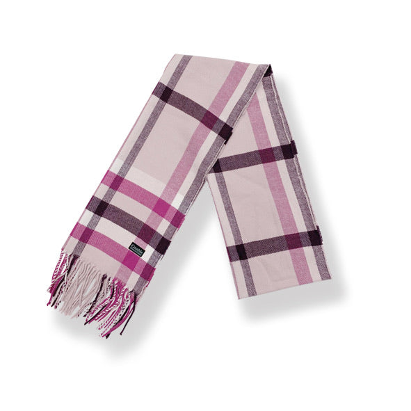 Pink Check Cashmere Feel Scarf (S12)