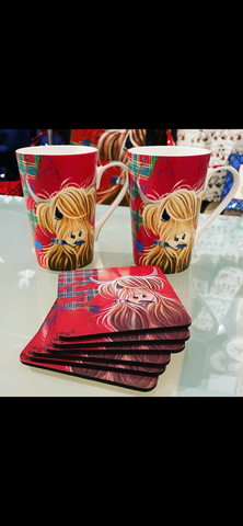 Pair of Tartan Paint Bone China Mugs & Free coaster set