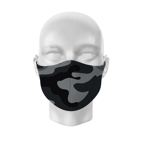Face mask Black and Grey Camouflage