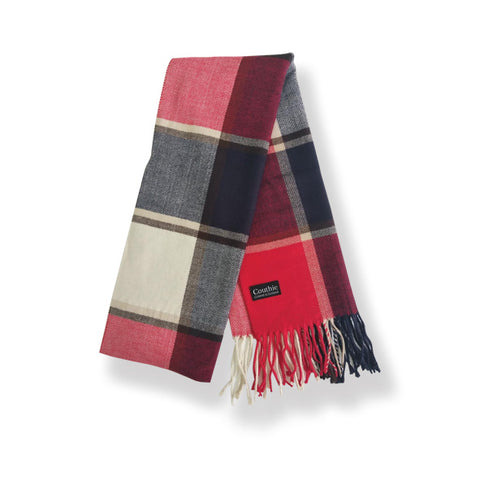 Cashmere Feel Scarf Blue & Red Check (S20)