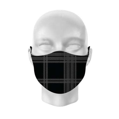 Face mask Black & Grey Tartan