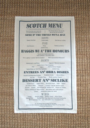Scotch Menu - Vintage Scotland Cotton Tea Towel