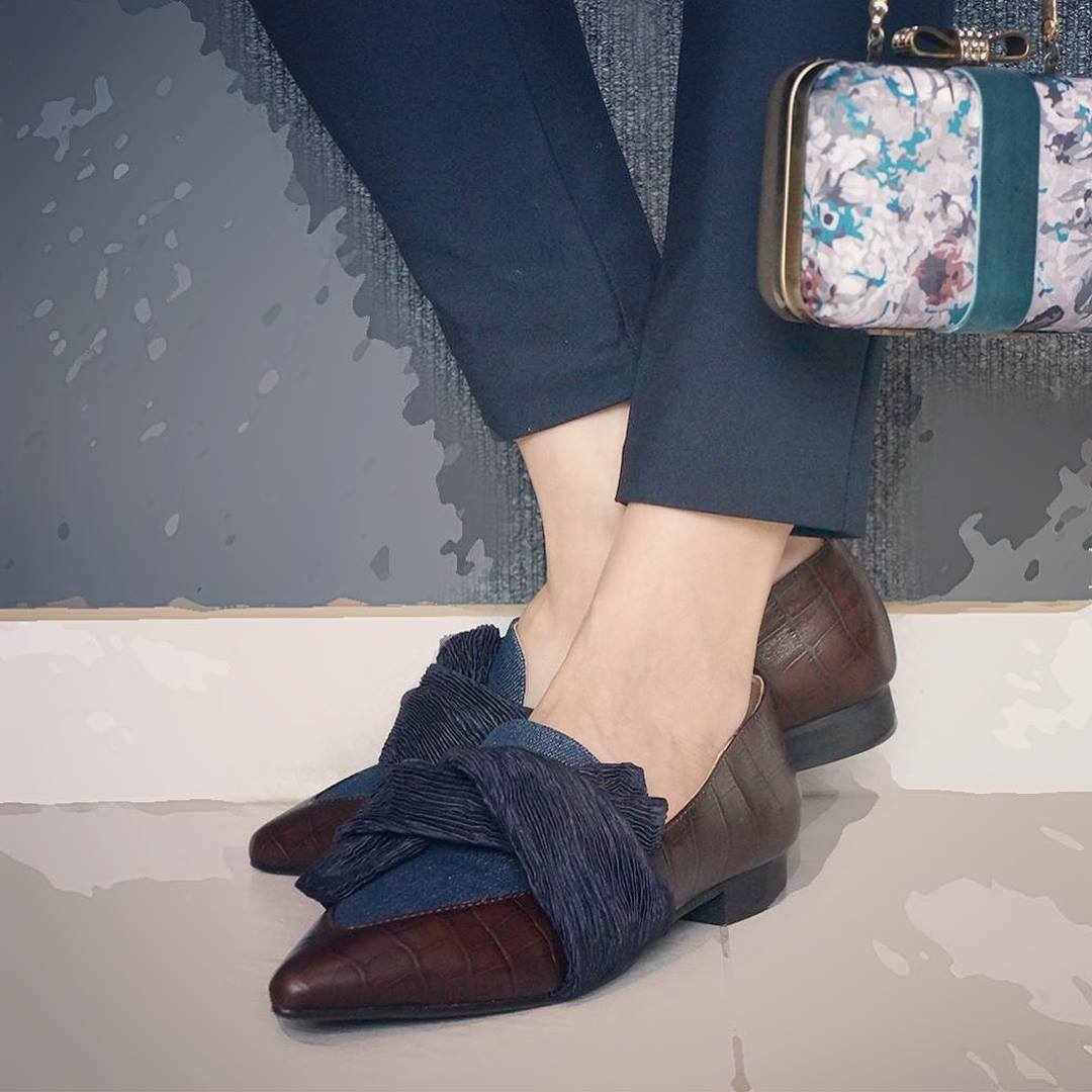 Leather Bow Loafers with Denim Instep