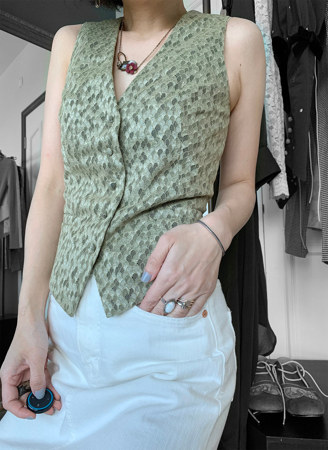 Bronze Mermaid Scale Lace Button-up Waistcoat