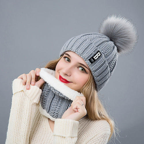 Winter ladies hat scarf 2 piece set