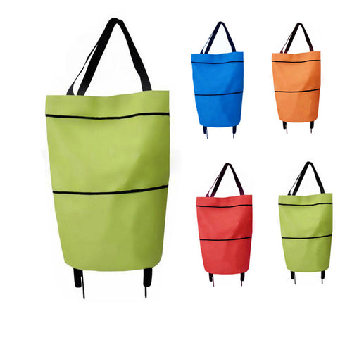 Portable multi-function folding tug shopping bag