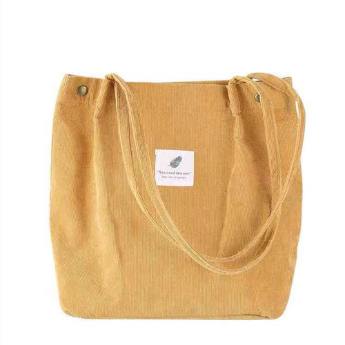 Simple corduroy shopping tote