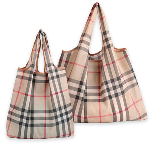 Nylon plaid supermarket shopping bag set of 2