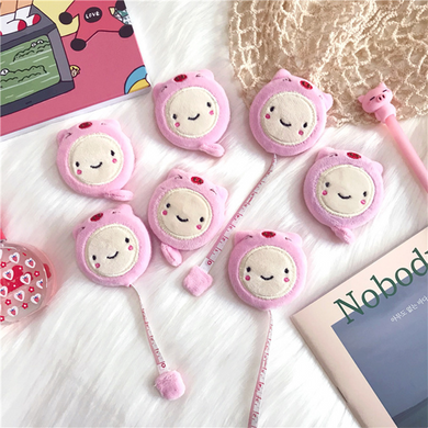 Pink cute pig plush mini 1.5m tape measure with double-sided clothes small tape measure