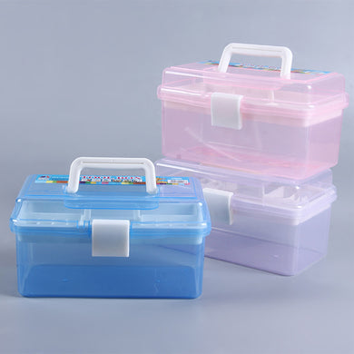 Double-layer portable transparent multi-function storage box