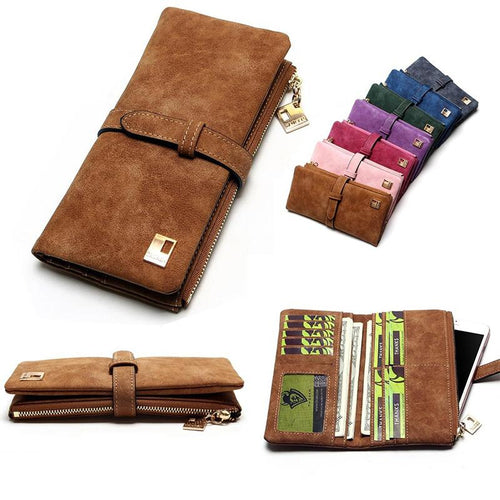 Fashionable Women Leather Zipper Wallet
