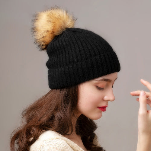 Women's cashmere rabbit fur winter hat