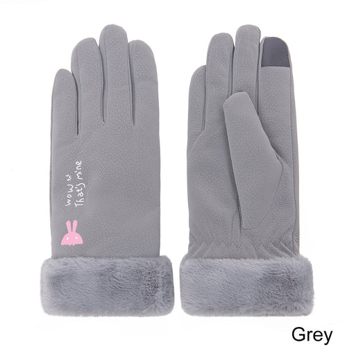 Waterproof leather stretch female gloves with touch screen