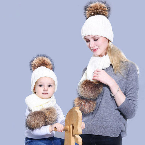 Pompon hat scarf women and children two-piece suit