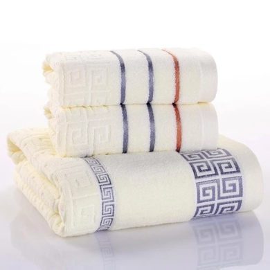 3pcs Luxury Cotton Soft Plaid Bath Towel Washcloth Sets