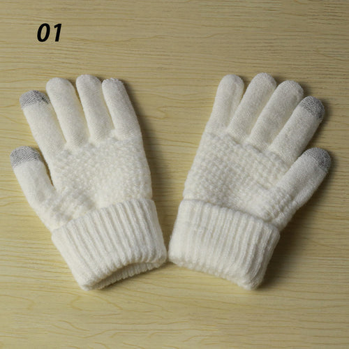 Winter new magic touch screen knitted gloves
