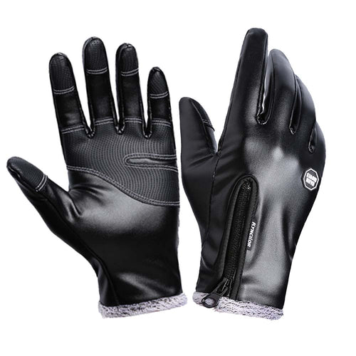 Winter leather gloves black touch screen waterproof