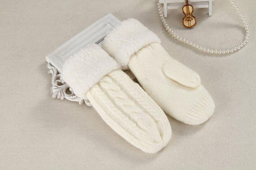 Women's wool plus velvet warm gloves