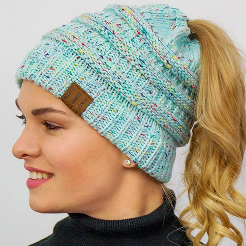 Ponytail messy little beanie woven winter hat