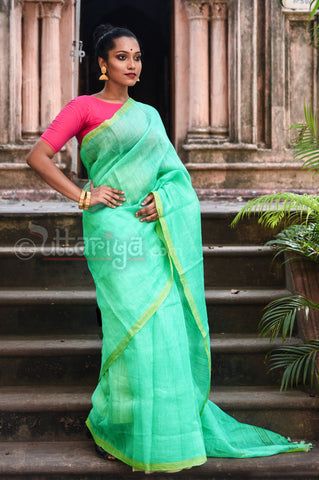 Sea Green Pure Silk Linen Saree