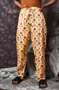 Floral Cotton Pants - Uttariya