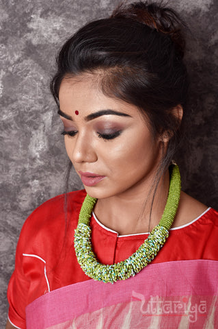 Green High Neck Piece - Uttariya