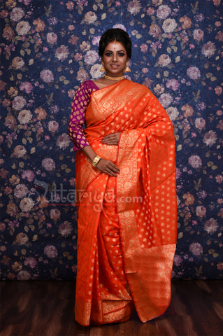 Orange Zari Booti Banarasi Saree
